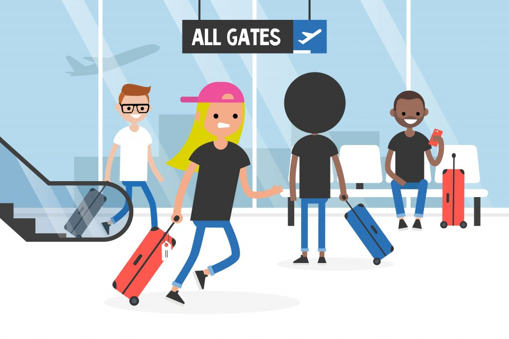 Airport Vector Scene with characters moving around