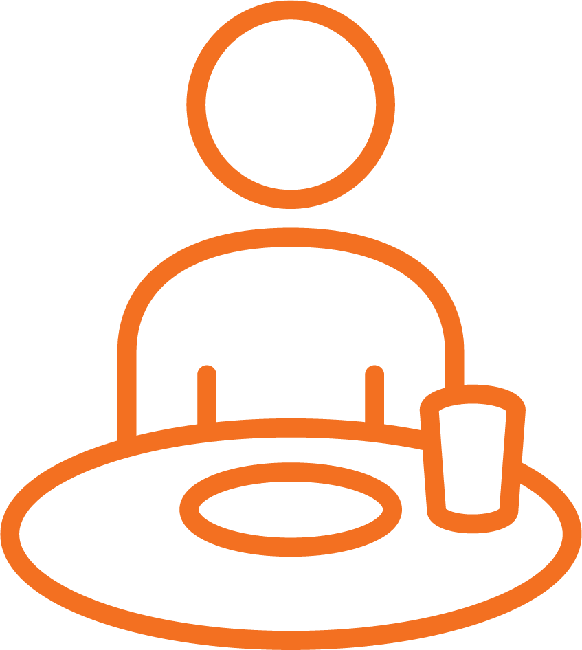 Sitting at table with plate & cup Orange Stroke Icon