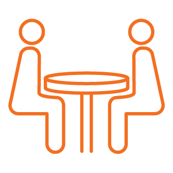 2 people sitting at a round table Orange stroke Icon