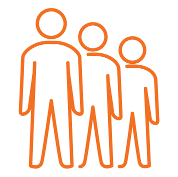 3 male persons in desceninding size orange stroke icons