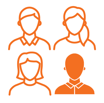 4 people headshots allinged in a square with bottom right person fully coloured in orange - Orange stroke Icon