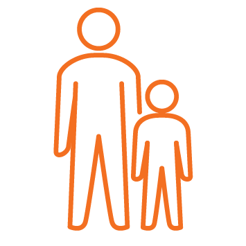 Person standing with child or youth - Orange stroke Icon