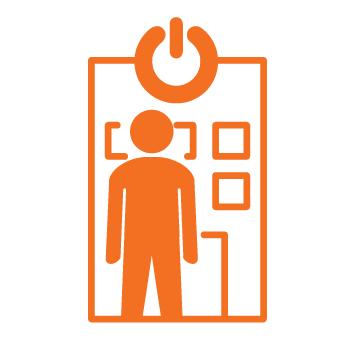 1 person icon coloured in orange at front of ONCALL office - Orange stroke Icon
