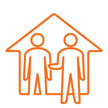 House with 1 male person icon inside - 1 male person standing outside with arm extended - Orange stroke Icon
