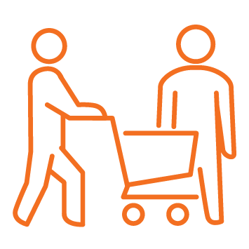 2 people shopping - one pushing grocery trolley and the other supporting them - Orange stroke Icon
