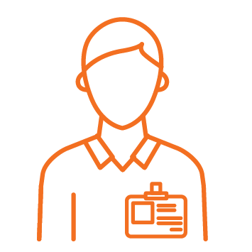 Person with collared shirt and nametage Orange stroke Icon