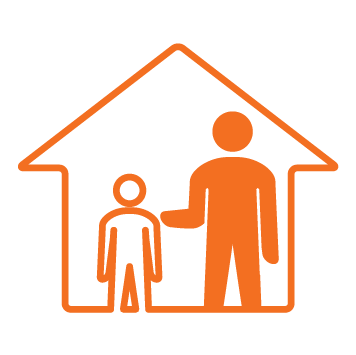 House with 2 person icon inside - 1 young person standing inside and 1 older person standing inside with arm extended and fully coloured in orange - Orange stroke Icon