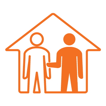 House with 2 person icons inside - 1 male person standing inside with arm extended and fully coloured in orange - Orange stroke Icon