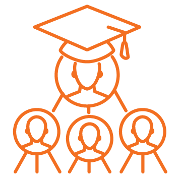 Person icon with graduation hat on at top with 3 person heashots in circles below in family tree fashion - Orange stroke Icon