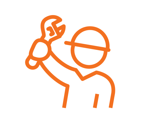 Builder with hard hat holding up a wrench Orange stroke Icon
