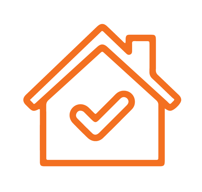 House with tick icon in the middle Orange stroke Icon