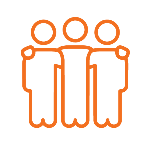 3 people with arms around each other - Orange stroke icon